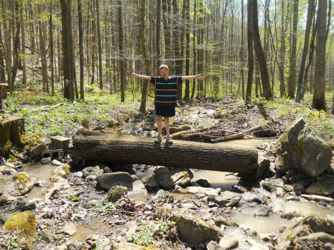My son Elijah (who is 8 years old in this picture) standing on the old log bridge, the flooding removed it 30 feet downstream