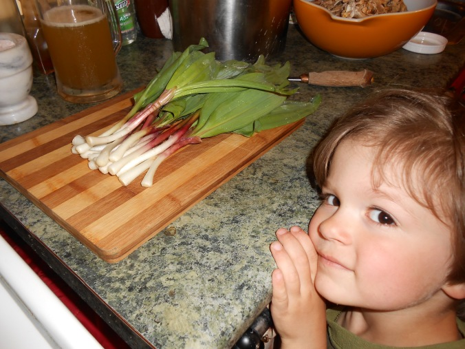 for the soup I used about 20 RAMPS, here I was getting ready to cut them up when my 5 year old son Matthew said he wanted his picture taken with them since he helped dig them up :)