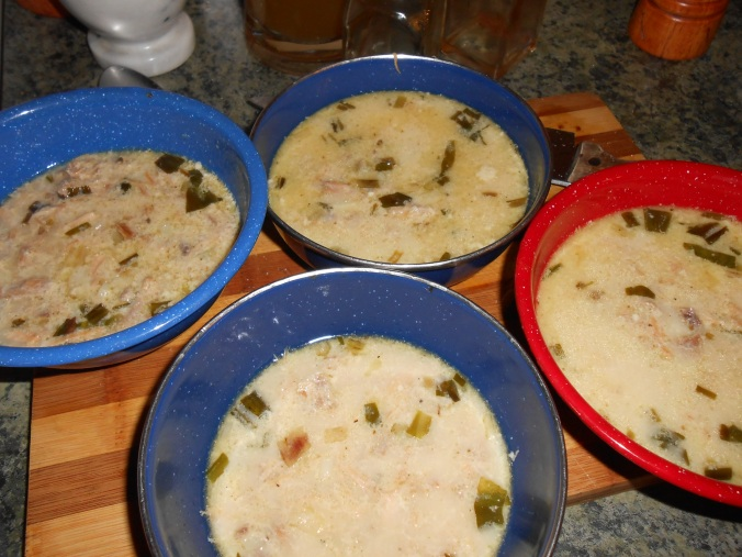 soup all dished up and cooling