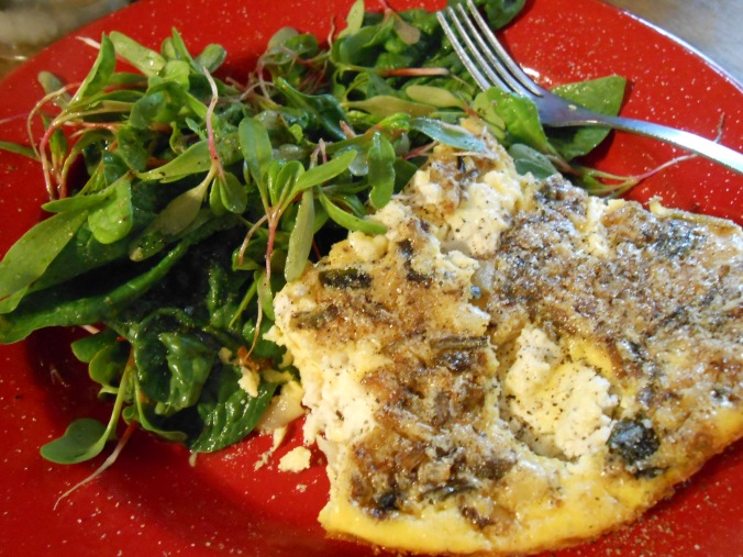 RAMP and goat cheese quiche with spinach salad, I ate ALL this and then went pack for seconds lol