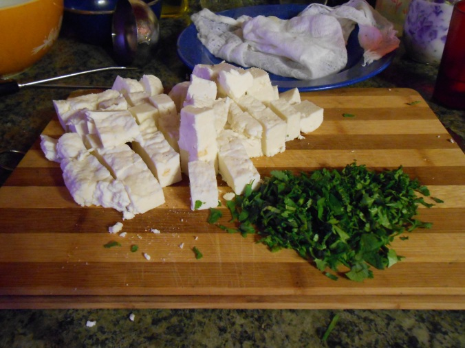 the cubed paneer and chopped fresh cilantro from the garden