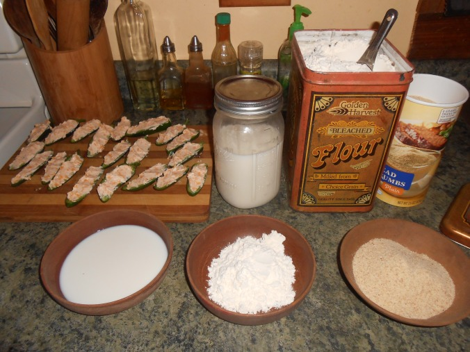 "after that, it's now time to ""bread"" them...you will need milk, flour, and plain breadcrumbs (I've also used panko bread crumbs before, they make an ""extra crunchy"" popper..)"